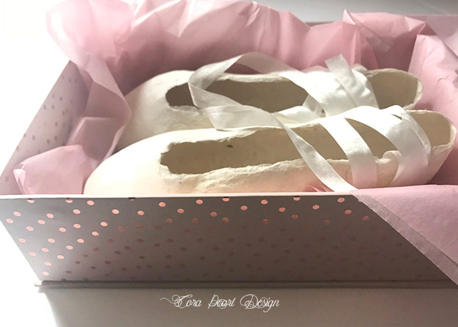 limited edition ivory paper pointe shoes gift boxed - paper ballet shoes - decorative shoes - ballet gifts - shabby chic decor b