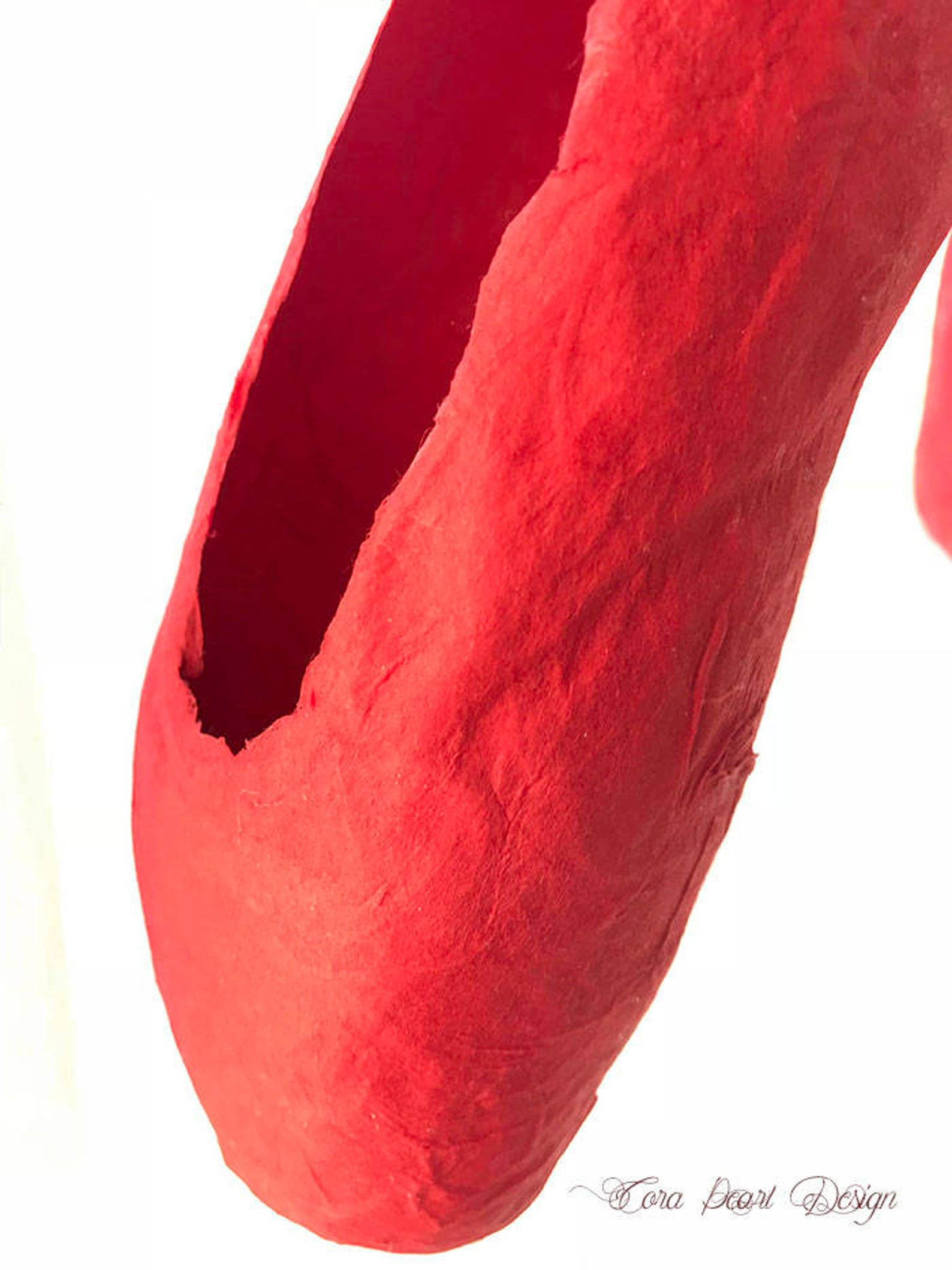red paper pointe shoes - red paper ballet shoes - shoe ornament - ballet gift - ballet shoes - ballerina gifts - paper ballet sh