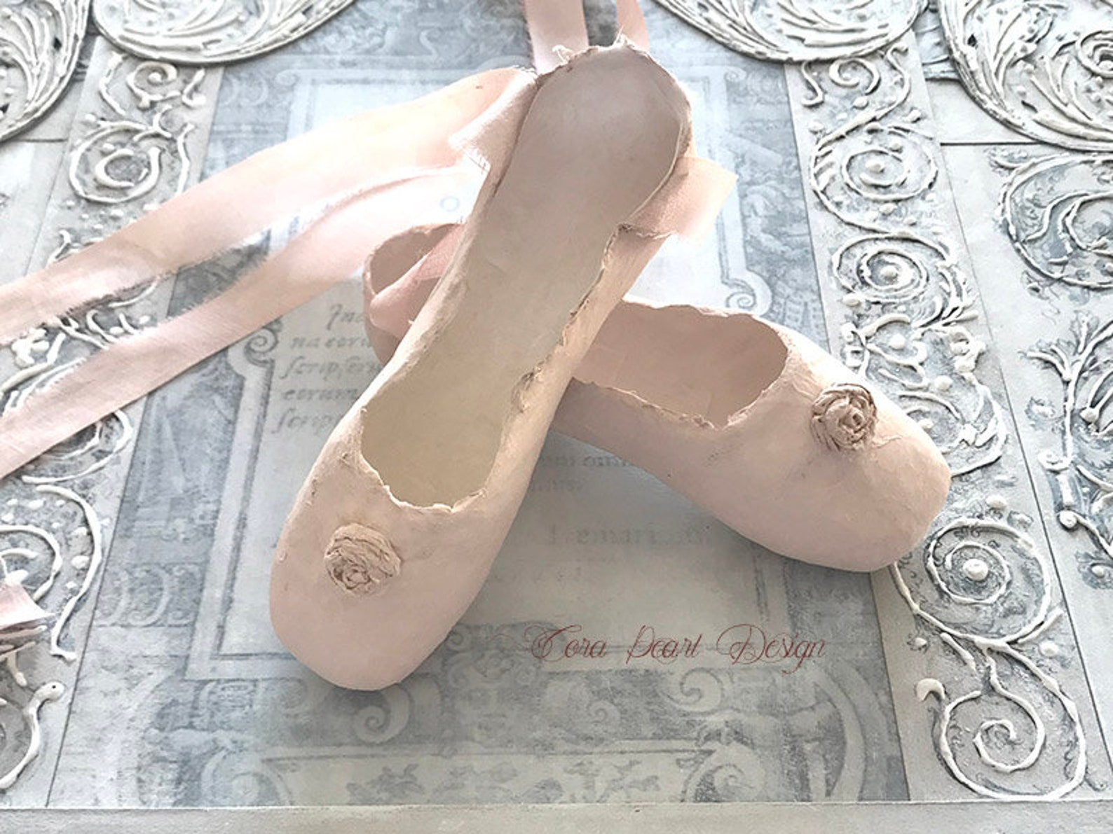 pink paper ballet shoes with pure silk ribbons - pink paper pointe shoes , decorative shoes - nursery decor - paper sculpture -