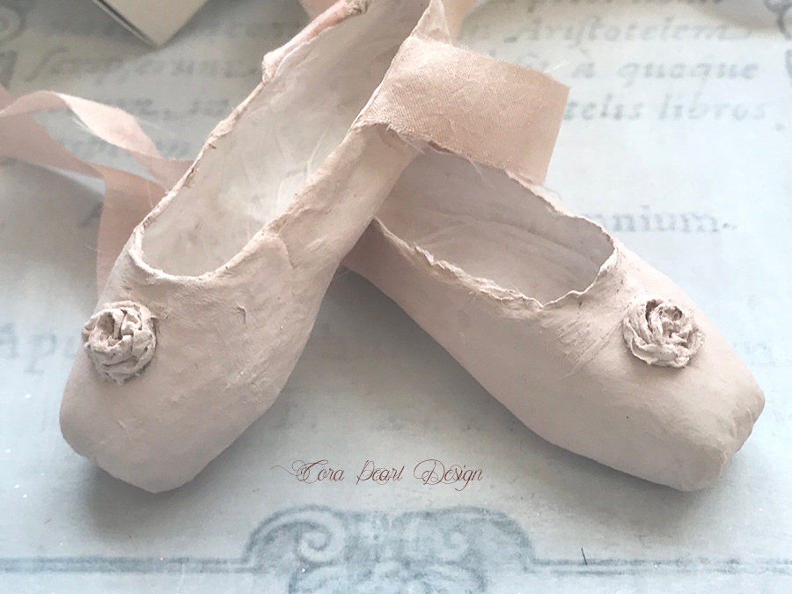 paper rose and silk pink paper miniature pointe shoes in gift box - paper ballet shoes - paper sculpture - ballet gifts