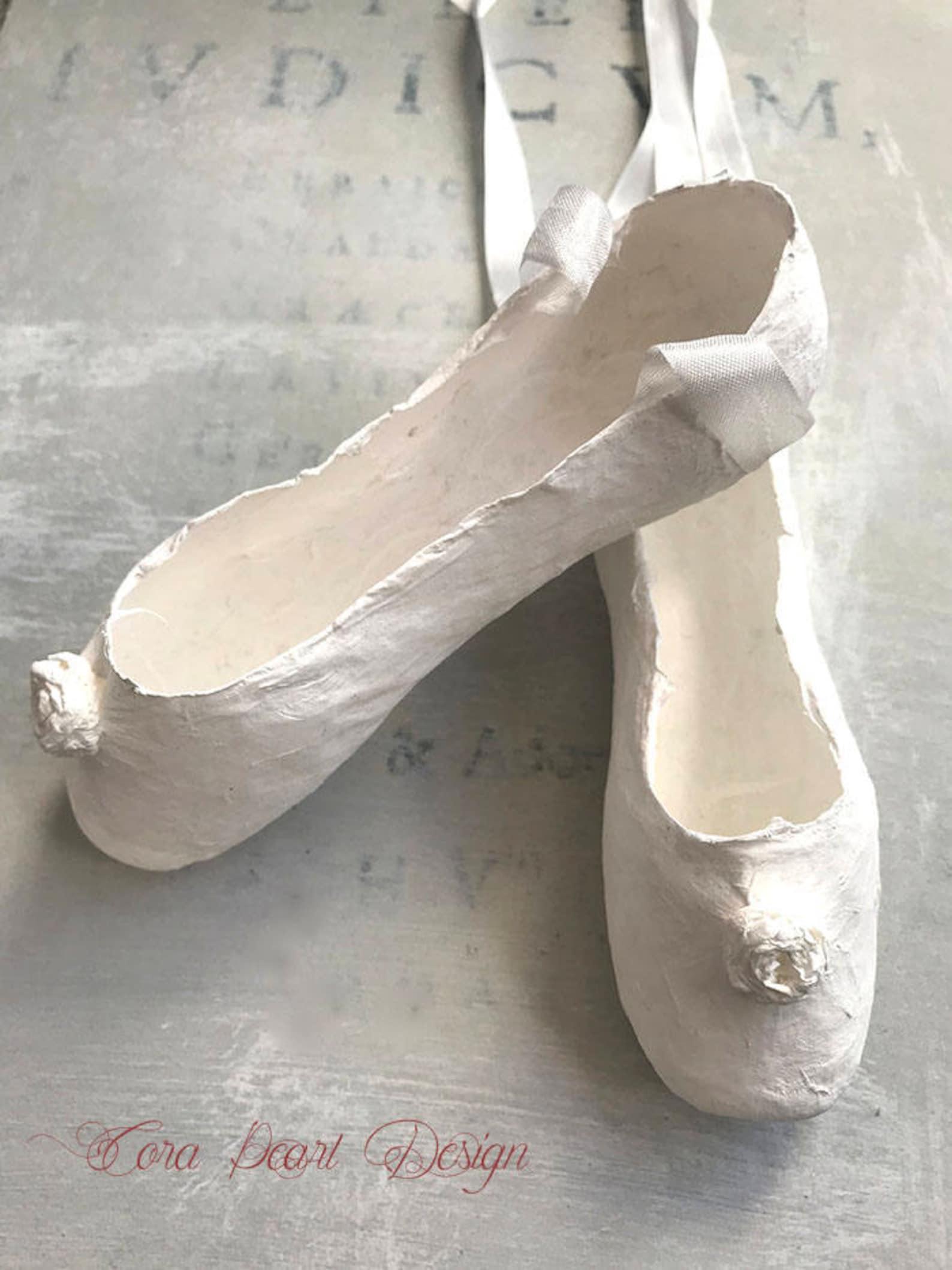 antique white paper ballet shoes , white pointe shoes , decorative shoes , nursery decor - children's bedroom decor - paper