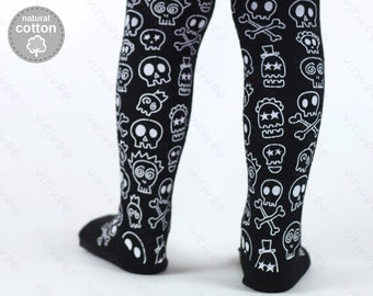 Skulls Halloween tights 1-9 YEARS,  cotton pantyhose for baby toddler girls and boys, babys first Halloween witch
