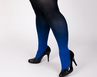 49168a502 Plus size tights for women blue-black