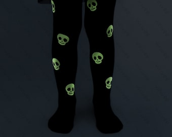 Glow in the dark skull Halloween tights 1-9 YEARS,  unisex cotton pantyhose for baby toddler girls boys, babys first Halloween witch