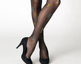 Praha tights / black dotted tights / asymmetric patterned tights / summer tights / own design