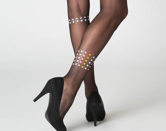 Dublin sheer black tights / asymmetric dotted patterned tights / own design
