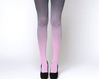 Pink-grey ombre tights. Opaque tights. Gift for her. Tights for women. Spring tights.