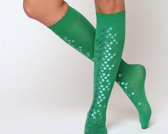 Green Ariel mermaid knee high tights with green scales. Semi-opaque mermaid scale knee stocking. Knee socks.