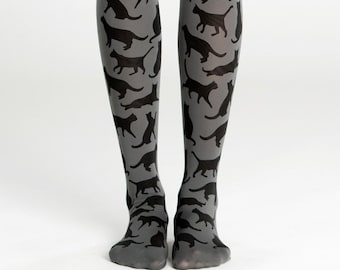 1665dcea6 Cat silhouette tights, gift for cat lovers, hand printed opaque leggings