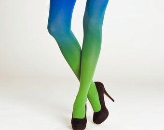 Tights for women / Ombre tights green-blue / Opaque tights / Gift for her