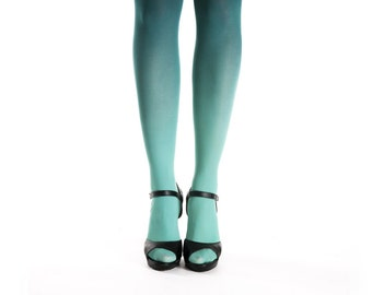 Ombre tights teal