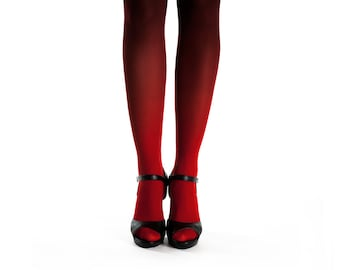 Ombre tights red-black. Gift for women. Ombre pantyhose. Opaque tights for women. Gift for her. Gift for mom. Black tights. Gift under 50
