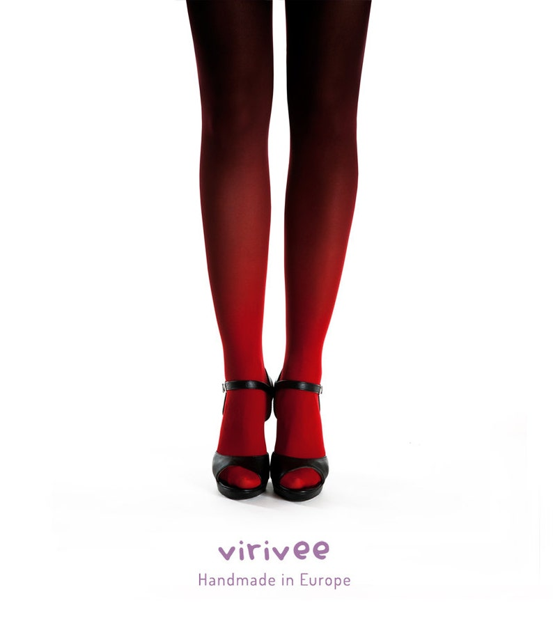efce221ccf4 Ombre tights for women red-black gift for mom opaque