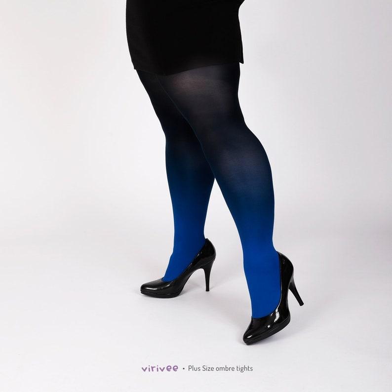 5c69b4de4a2 Plus size tights for women blue-black ombre SEMI-OPAQUE