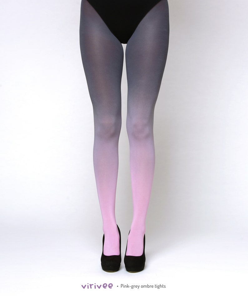 9178cba588b Pink-grey ombre tights. Opaque tights. Gift for her. Tights