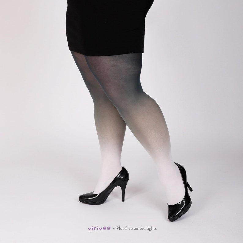 55ffedcbaaf White-black semi-opaque tights for plus size women
