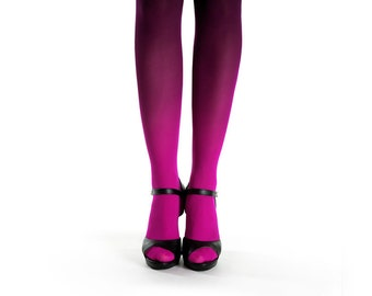 Ombre tights magenta-black / Valentine day's gift