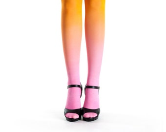 Ombre tights pink - orange