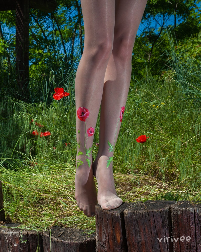 4c1277f0573 Poppy tights   Floral tights for women   Thin nude tights