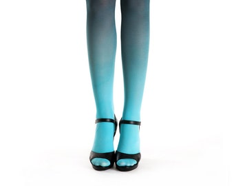 Ombre tights turquoise-black