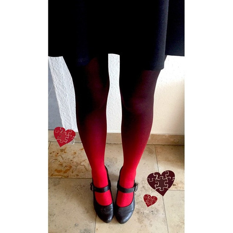 984c518435a9f Ombre tights for women red-black gift for mom opaque   Etsy