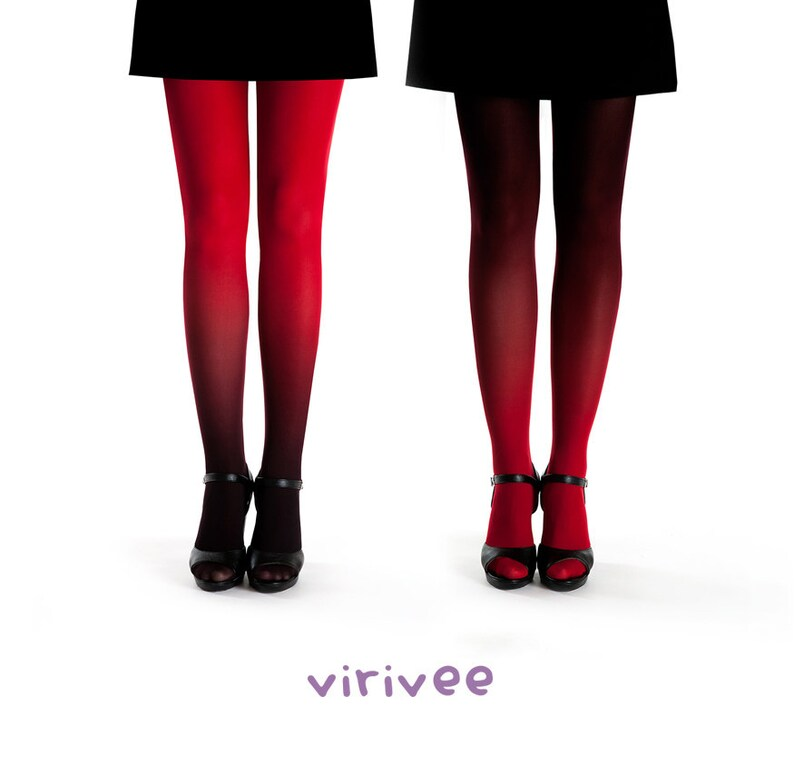 346425e91fc5f 2 ombre tights together / red-black and black red ombre   Etsy