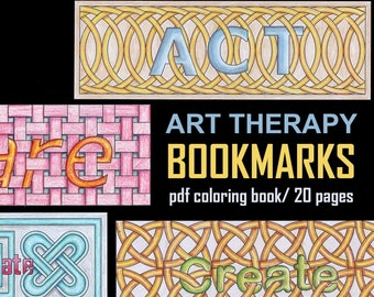 20 Art Therapy Bookmarks - PDF Coloring Book, 20 Coloring Pages - Designed in collaboration with an art therapist