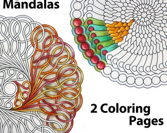 2 Coloring Mandalas instant download printable coloring pages