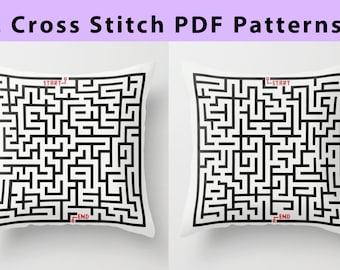 2 Cross Stitch Maze Patterns, Contemporary & Minimal design, 2 designs for Modern Home Decoration or Fashion Tote Bags, PDF instant download