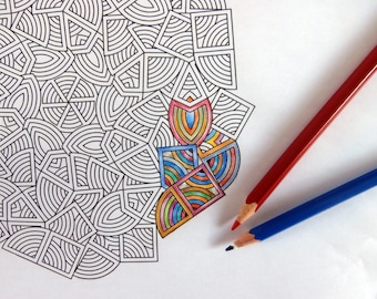 Adult Coloring Page ready to be printed and colored, Downloadable Geometric Art, Free to use in commercial, educational or personal projects