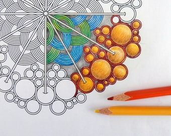 Adult Coloring Book Page, Printable Mandala Art to Color, Instant Download