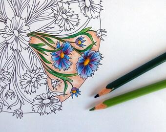 Adult Coloring Page, Flower Mandala, Printable Floral Pattern, Instant Download