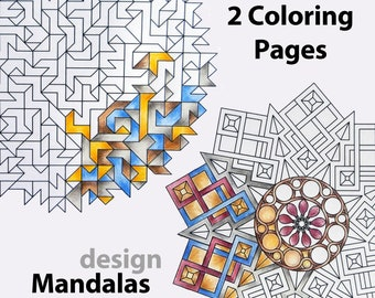 2 Mandala Coloring Pages for adults, Download printable Mandala Coloring Sheets, Free to use in any commercial project