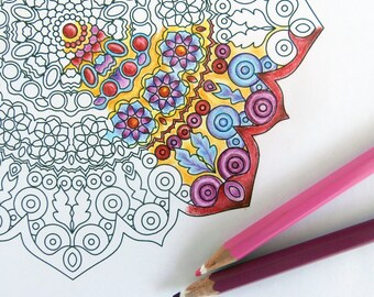 Printable Coloring Page, Downloadable Oriental Motif Mandala, Art Coloring Therapy for Adults