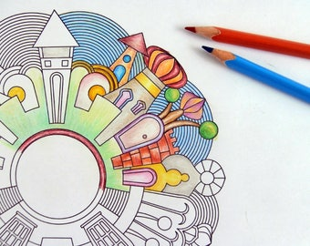 Kids Coloring Page Houses Village Mandala Downloadable Instant download