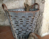 Rustic metal olive basket,Vintage Bucket ,Decorative Basket,Rustic Bucket