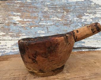 Antique Wood Mortar ,Old Primitive Mortar,Kitchen Decor ,Wood Bowl