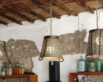 Rustique en métal Olive seau panier lampe, Eclairage, rustique Eclairage industriel, plafonnier, Lightshade