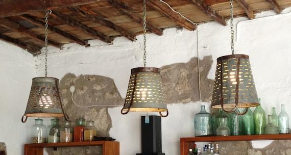 Rustieke metaal Olive emmer mand lamp hanger verlichting