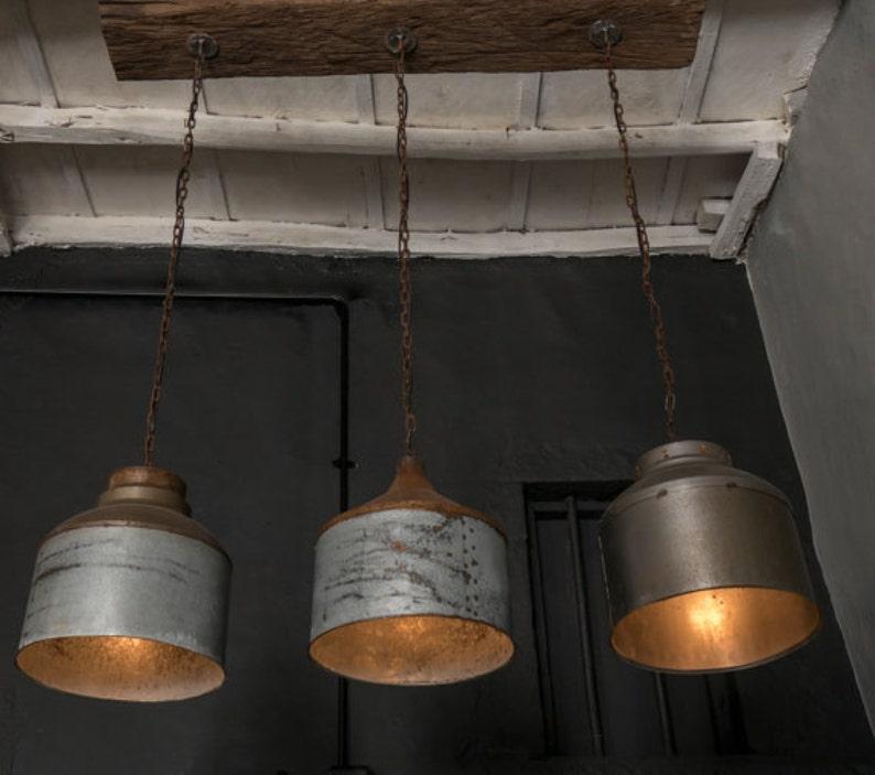 Galvanized Lighting Fixture Chandelierrustic Industrial Etsy