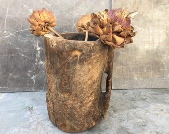 Primitive Old  Wood Mortar ,Antique Wood Decor ,Rustic Wooden Bowl ,Wood Bowl