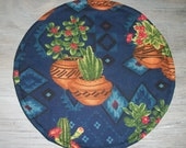 Potted Cactus Succulents Terra Cotta Clay Pots Southwestern on Navy Blue 10 Inch Round Tortilla Pita Flatbread Naan Microwave Warmer RTS