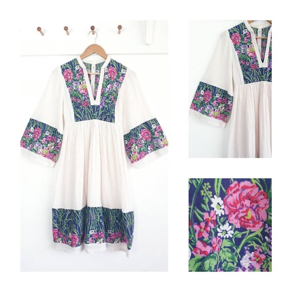 1970s Afghan style folk dress ~ cheesecloth cotton