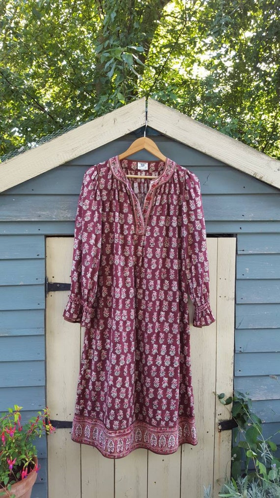 1970s Anokhi Indian cotton block print dress ~ Gyp