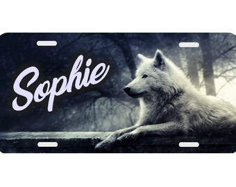 Engraved Personalized Wolves License Plate Auto Tag
