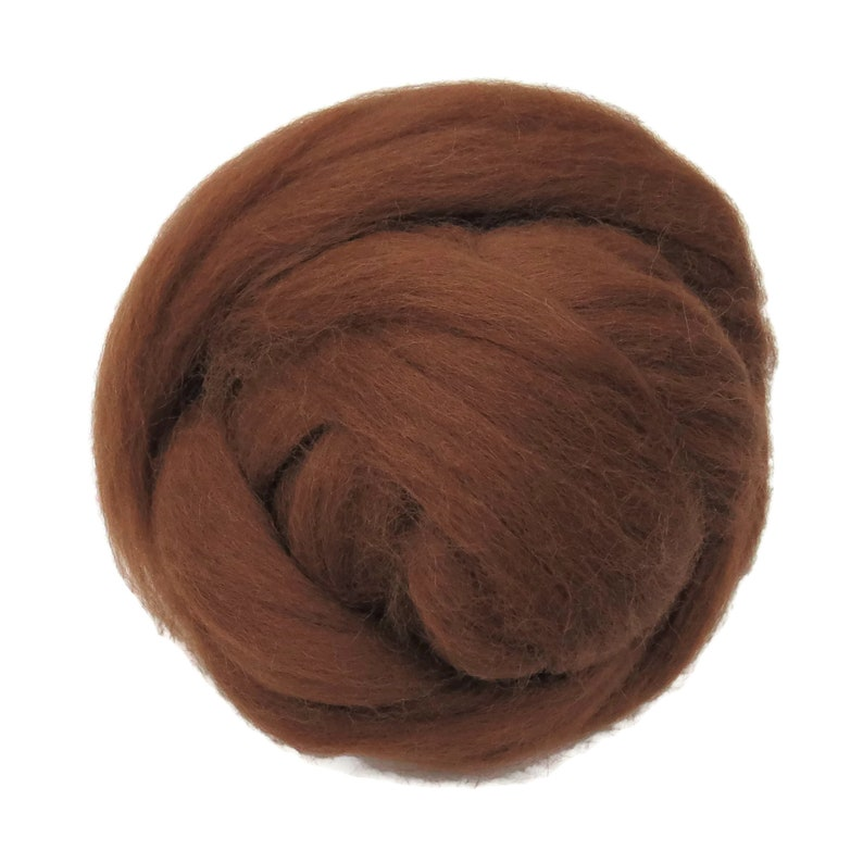 Natural undyed Baby Alpaca wool roving New color Reddish Brown