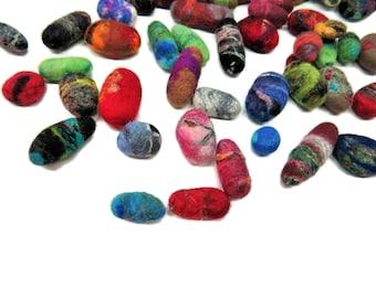 NEW! Felted wool pebble stones , Merino/Silk