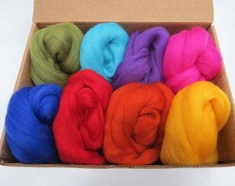 Felters Palette Merino Wool Roving - 8 Vibrant Rainbow Colors Superfine Wool Fibers Assortment