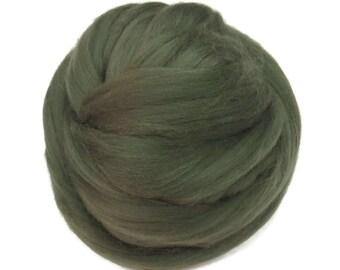 Merino / Silk  Roving, (Moss)