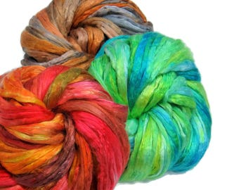 Mulberry Silk varigated roving set of 3 colorways, hand dyed (KS-2)